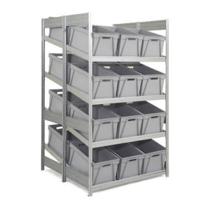 Double Depth Supply Shelving with Boxes