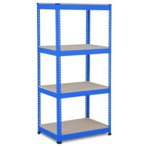 Heavy Duty Shelving with 4 Levels 915mm Wide blue chipboard