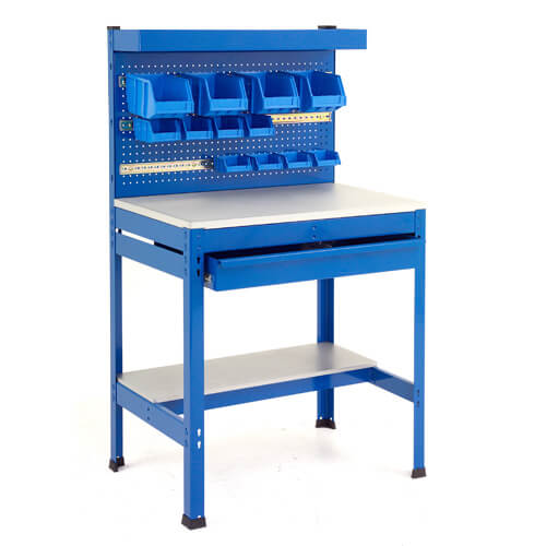 Heavy Duty Workbench Station with Pegwall Panel & Full Width Drawer 915mm wide