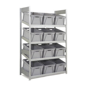 Single Depth Supply Shelving with Boxes