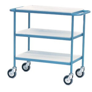 Tea Tray Trolley with 3 Plastic Trays