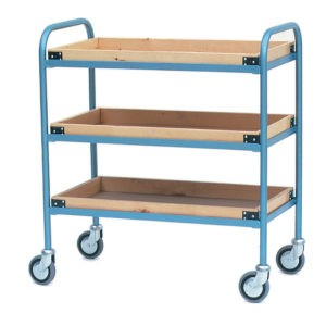 Tea Tray Trolley with 3 Wooden Trays