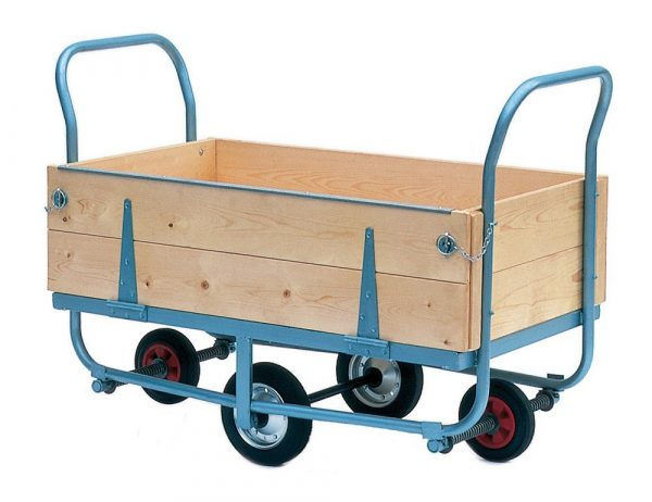 Warehouse Trolley with Wooden Sides