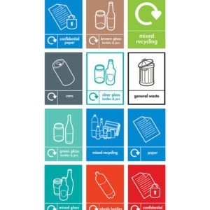 Recycling Labels for Slimline Bins