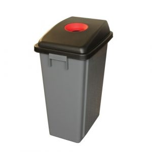 Recycling Bin with 60 Litre Capacity and Red Lid