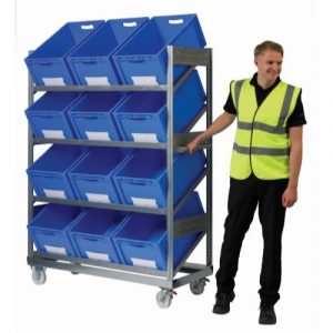Inclined trolley shelving