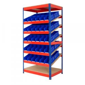 Kanban shelving with blue bins