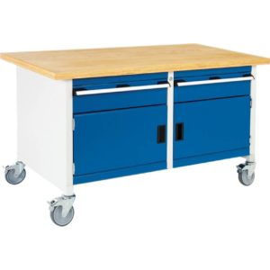 Mobile Storage Workbench with 2 Cupboards & 2 Drawers