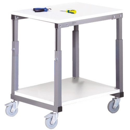 mobile bench with height adjustable worktop
