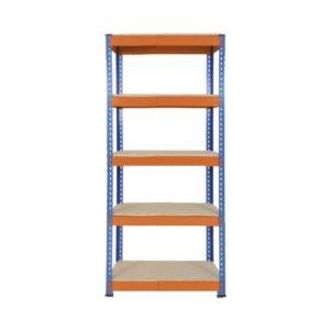Heavy Duty Shelving with 5 Levels 915mm Wide blue orange chipboard shelves