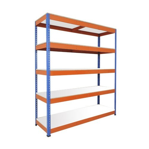 Heavy Duty Shelving with 5 Levels 2134mm Wide blue orange melamine shelves