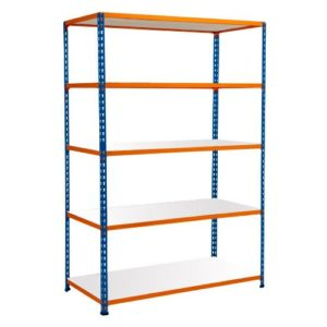 Medium Duty Shelving with 5 Levels 1525mm Wide blue orange melamine shelves