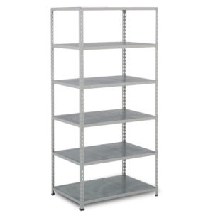 Medium Duty Shelving with 6 Levels 915mm Wide galvanised shelves grey