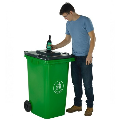wheelie bin with bottle hole lid