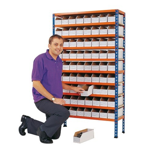 Shelving Bay for Cardboard Bins with Model