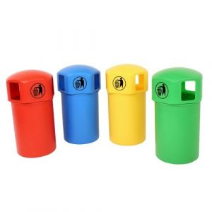 Closed Top Litter Bins in Four Colours