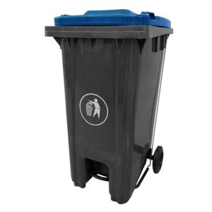Pedal Wheelie Bin with Blue Lid - 120 litre