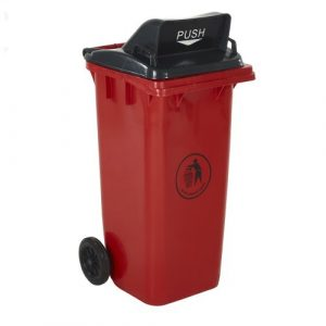 Wheelie Bin with Push Flap Lid in Red