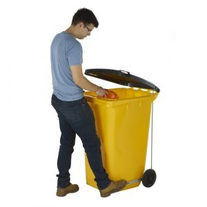 Wheelie Bin with Side Pedal in Yellow