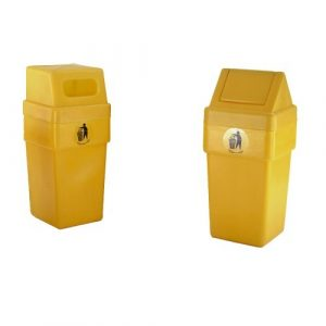 Yellow Litter Bins with Closed Tops